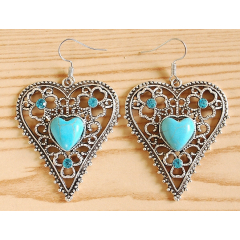 Boucles d'oreilles Coeur Turquoise Brillant Country Western
