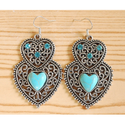 Boucles d'oreilles Double Coeur Turquoise Brillant Country Western