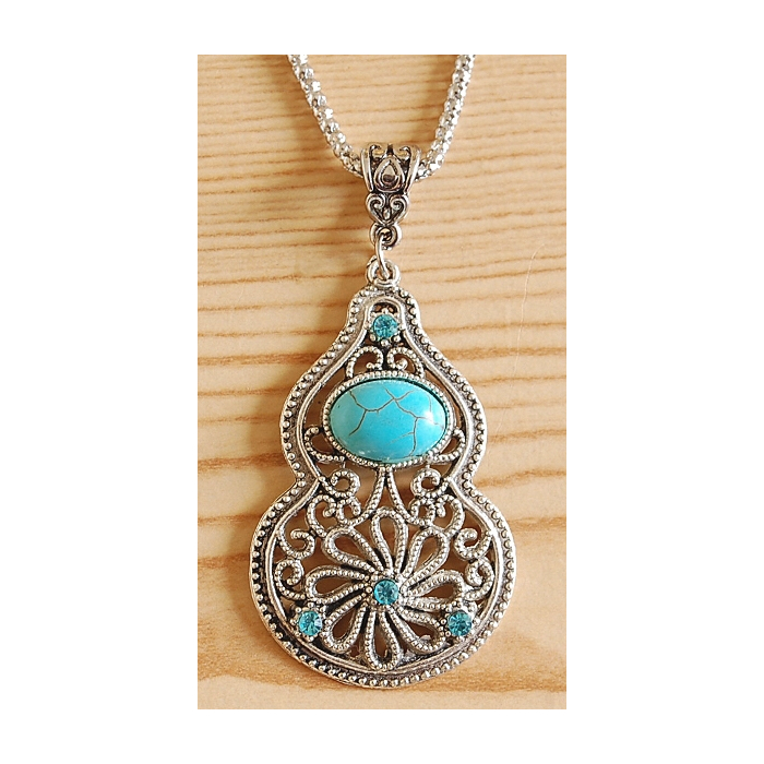 Collier Pendentif Calebasse Brillant Turquoise Country Western