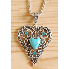 Collier Pendentif Coeur Brillant Turquoise Country Western
