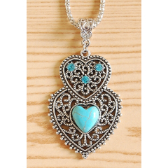 Collier Pendentif Double Coeur Brillant Turquoise Country Western