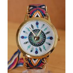 Montre Bracelet Tressé Bleu Jaune Cadran Plumes  - Country Western