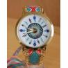 Montre Bracelet Tressé Turquoise Rose Cadran Plumes  - Country Western