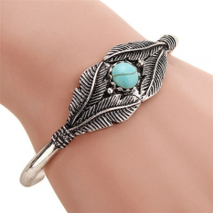 Bracelet Rigide Plumes Cabochon Turquoise Howlite Rond Country Western