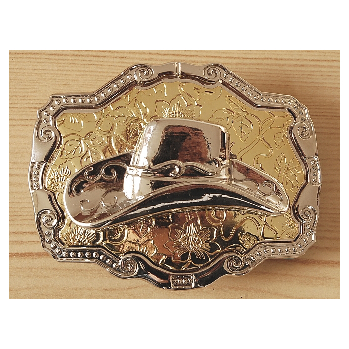Boucle de Ceinture Rectangle Fond Or Chapeau Country Western Cowboy
