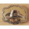 Boucle de Ceinture Rectangle Fond Or Chapeau Country Western Cowboy