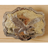 Boucle de Ceinture Rectangle Fond Or Aigle Country Western Cowboy