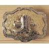 Boucle de Ceinture Rectangle Fond Or Santiag Country Western Cowboy