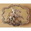 Boucle de Ceinture Rectangle Fond Or Rodéo Country Western Cowboy