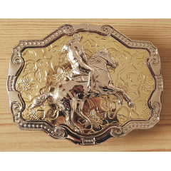 Boucle de Ceinture Rectangle Fond Or Rodéo Country Western Cowboy