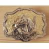Boucle de Ceinture Rectangle Fond Or Fer a Cheval Country Western Cowboy
