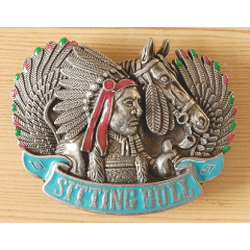 Boucle de Ceinture Indien Sitting Bull Country Western Cowboy