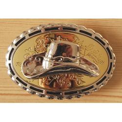 Boucle de Ceinture Ovale Fond Or Chapeau Country Western Cowboy
