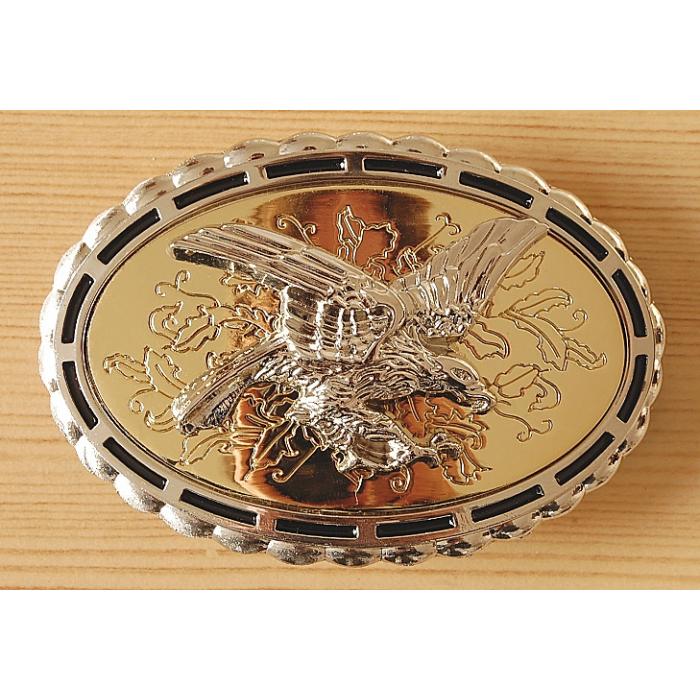 Boucle de Ceinture Ovale Fond Or Aigle Country Western Cowboy