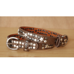 Tour de Botte Taupe Rivets Etoiles Country Western Cowboy