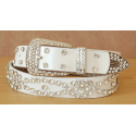 Ceinture Femme Rivets Strass Country Cuir Blanc Western II
