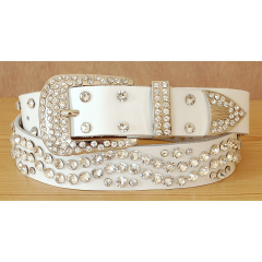 Ceinture Femme Rivets Strass Country Cuir Blanc Western III