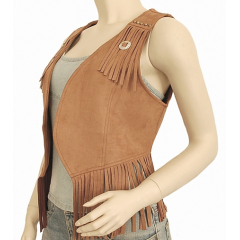 Gilet Court Boléro Franges Camel Concho Etoile Country Western Cowboy