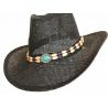 Tour de Chapeaux Cowboy Bourdalou Perles Bois et Turquoise Country Western