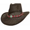 Tour de Chapeaux Cowboy Bourdalou Perles Bois Rouge et Turquoise Country Western