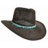 Tour de Chapeaux Cowboy Bourdalou Lanière Turquoise Perles Bois et Pierres Turquoise Country Western