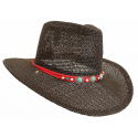 Tour de Chapeaux Cowboy Bourdalou Lanière Rouge Perles Bois et Pierres Turquoise Country Western