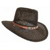 Tour de Chapeaux Cowboy Bourdalou Lanière Marron Perles Bois et Pierres Turquoise Country Western