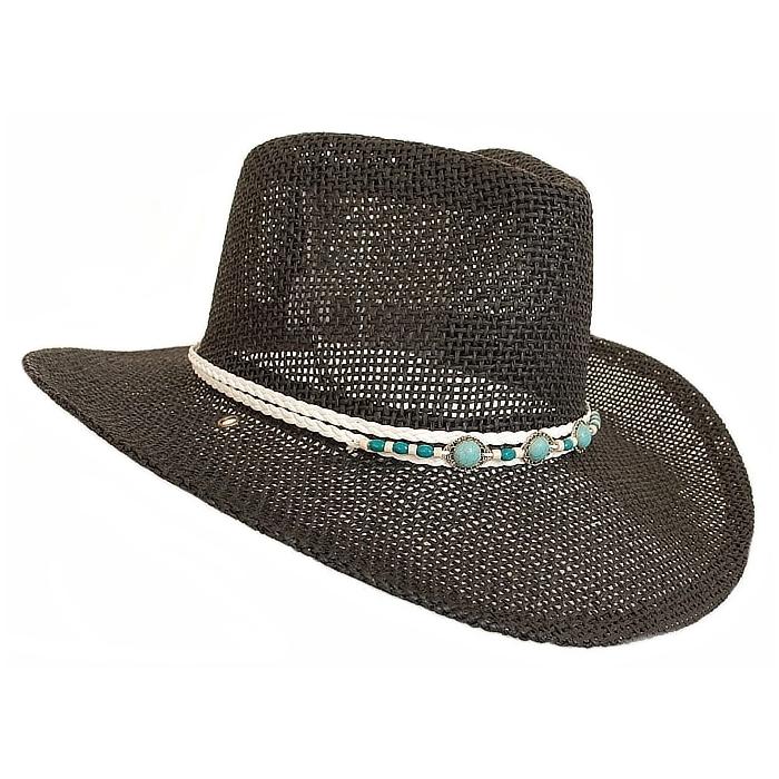 promotion hot-vente authentique gamme complète d'articles Tour de Chapeaux Cowboy Bourdalou Lanière Blanc Perles Bois et Pierres  Turquoise Country Western