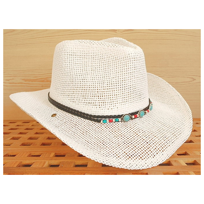 pas cher une grande variété de modèles bonne texture Tour de Chapeaux Cowboy Bourdalou Lanière Noire Perles Bois et Pierres  Turquoise Country Western