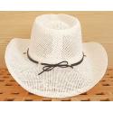 Tour de Chapeaux Cowboy Bourdalou Lanière Noire Perles Bois et Pierres Turquoise Country Western