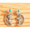 Boucles d'oreilles Cheval Pivotant Turquoise Country Western