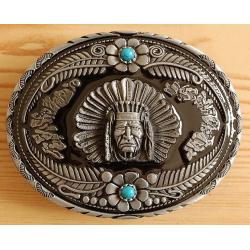 Boucle de Ceinture Chef Indien et Turquosie Country Western