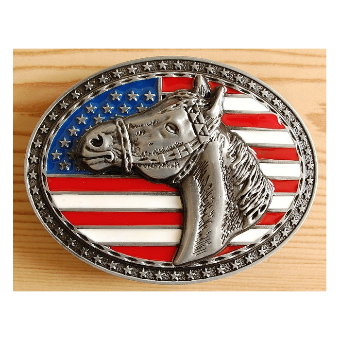 Boucle de Ceinture Cheval Stars Stripes Country Western