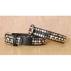 Tour de Botte Country Western Cowboy Clous Rivets Strass Noir
