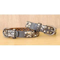 Tour de Botte Large Gris Rivets Etoiles et Strass Country Western Cowboy