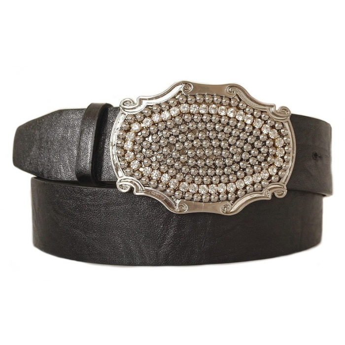 Ceinture Boucle Rectangle Chaine Strass Country Western Cowboy