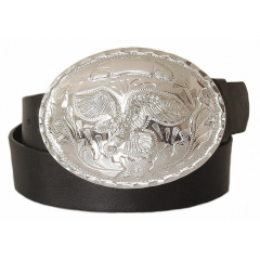 Ceinture Grosse Boucle Aigle Ovale Chrome Country Western Cowboy