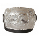Ceinture Grosse Boucle Aigle Rectangle Chrome Country Western Cowboy