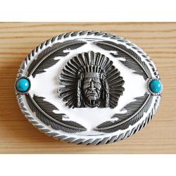 Boucle de Ceinture Chef Indien Blanc et Turquoise Country Western
