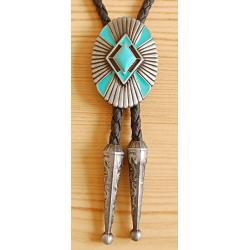 Bolo Tie Géometrique Losange Turquoise Country Western Cowboy