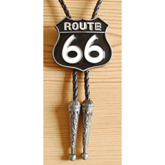 Bolo Tie Route 66 Noir Country Western Cowboy