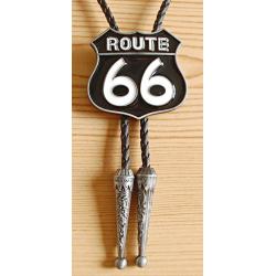Bolo Tie Route 66 Noir Country Western Cowboy