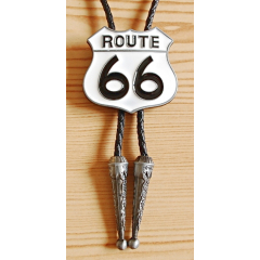 Bolo Tie Route 66 Blanc Country Western Cowboy