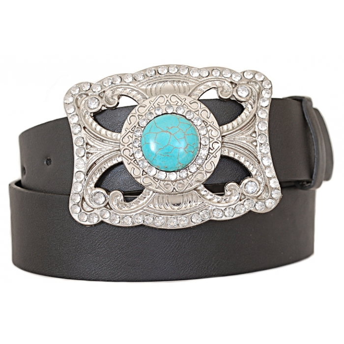 Ceinture Country Western Cowboy Boucle Strass et Pierre Turquoise