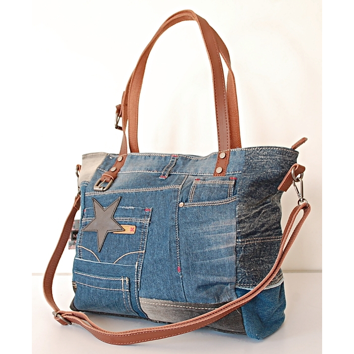 Sac Cabas Fourre-tout Toile Jean Denim Patchwork Country Western J01
