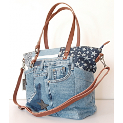 Sac Cabas Fourre-tout Toile Jean Denim Patchwork Country Western J06