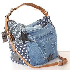 Sac Cabas Fourre-tout Toile Jean Denim Patchwork Country Western J07