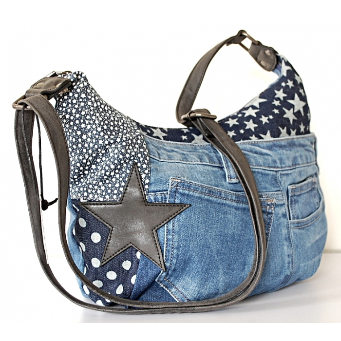 Sac Cabas Fourre-tout Toile Jean Denim Patchwork Country Western J08