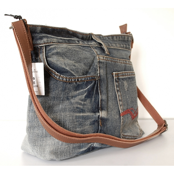 Sac Cabas Fourre-tout Toile Jean Denim Patchwork Country Western J09
