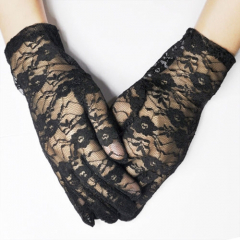 Gants Dentelle Noire Country Western Cowboy Old West